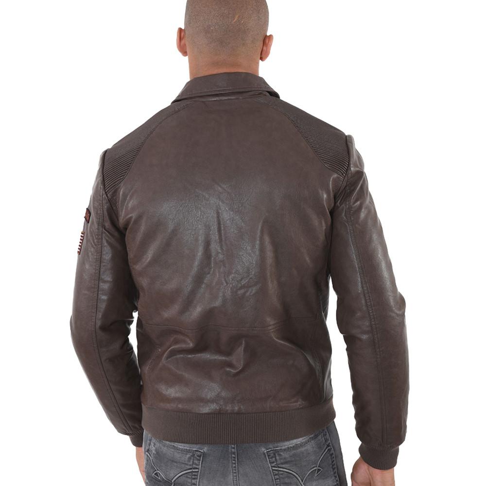 design de qualité 84806 5713b Vello Blouson Cuir Homme KAPORAL MARRON pas cher - Blousons ...