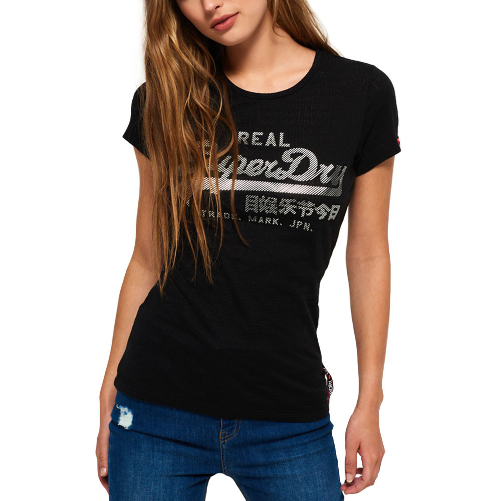 Vintage Logo Burnout Entry T Shirt Mc Femme SUPERDRY NOIR