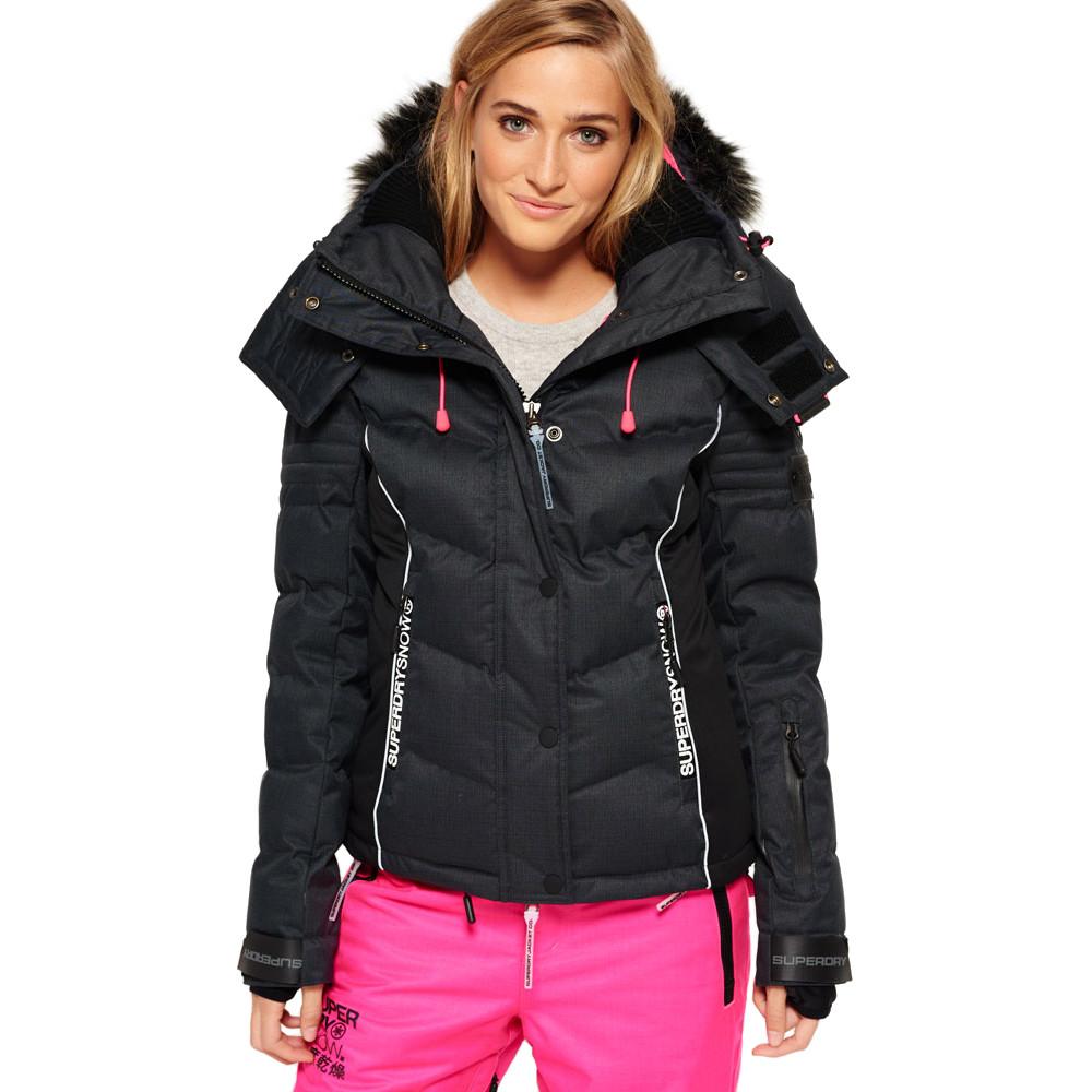 Snow Puffer Blouson Ski Femme SUPERDRY GRIS pas cher