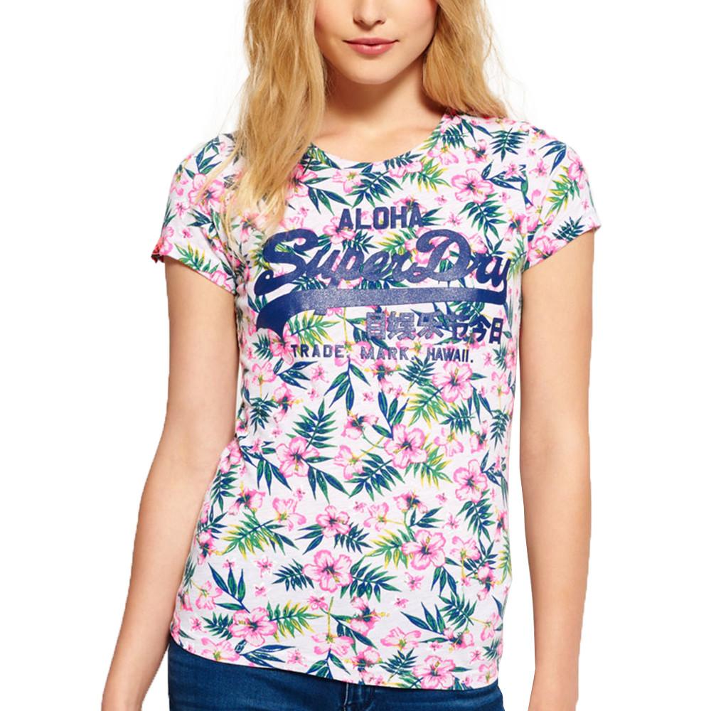 Vint Logo Tropical T-Shirt Mc Femme