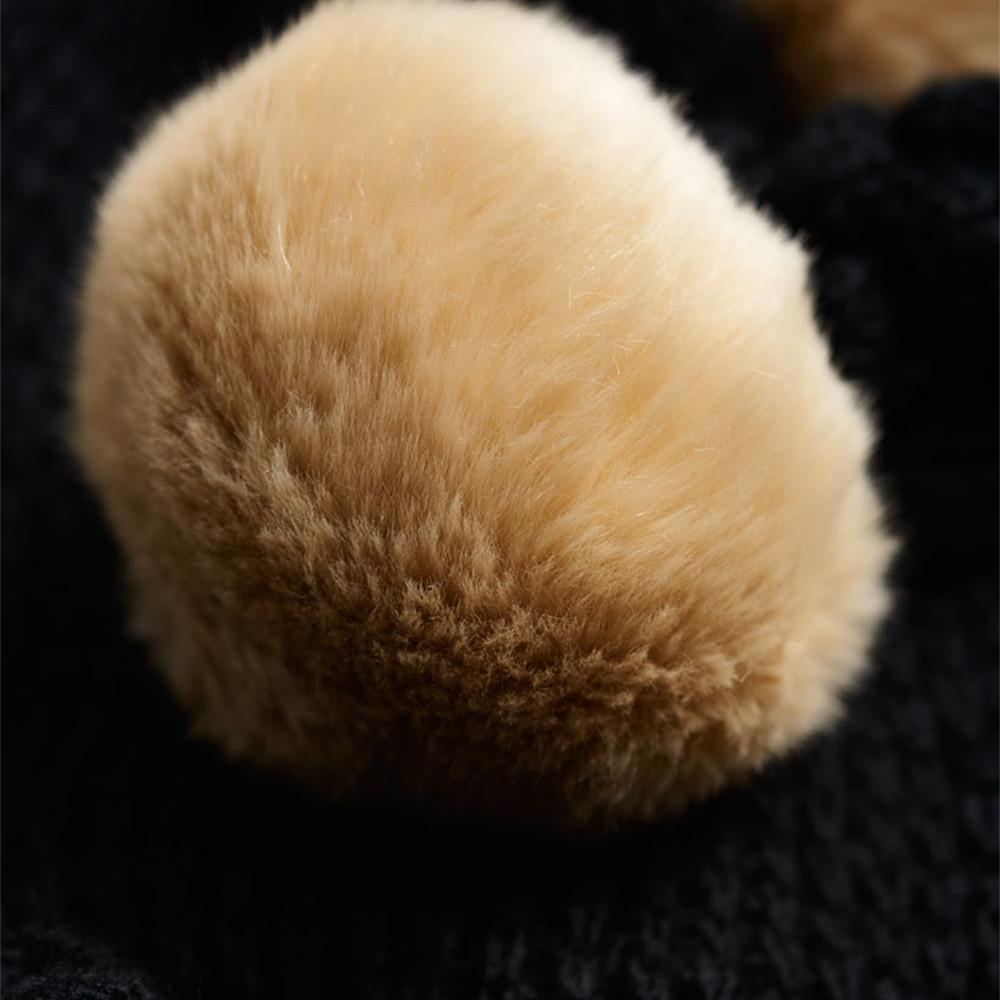 Bobble Stitch Fur Pompom Écharpe Femme