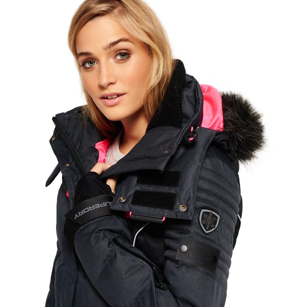 Femme Snow Puffer SUPERDRY pas cher Ski Blouson GRIS WoBreQdCxE