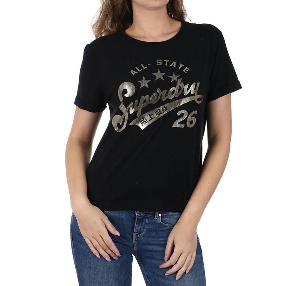 Foil Airtex Boxy T-Shirt Mc Femme