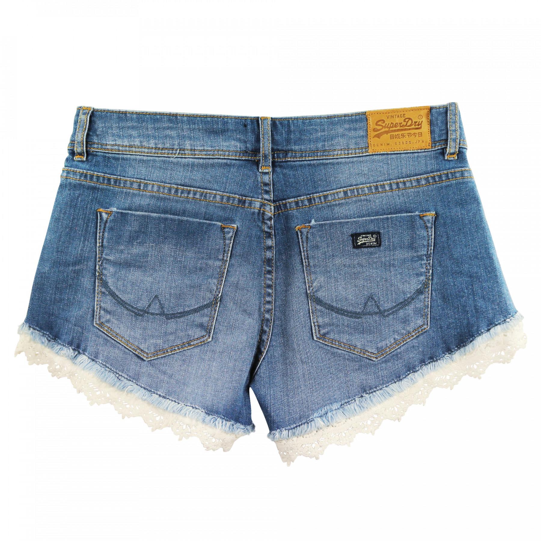 Cher Pas Superdry Short Shorts Lace Femme Hot Jeans Bleu xFwUnnv0Yq 7c5e58bc987