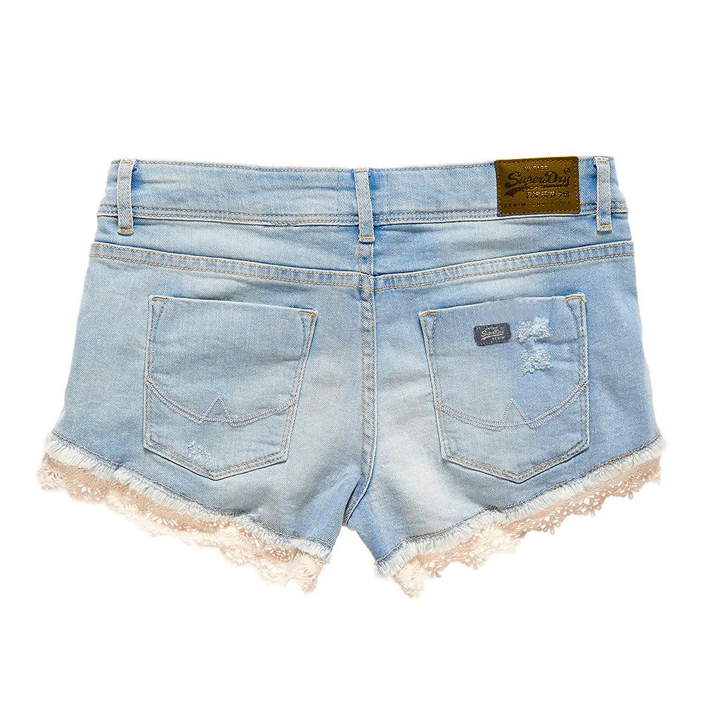 Lace Hot Short Jeans Femme SUPERDRY BLEU pas cher - Shorts femme ... 1abcbda801e