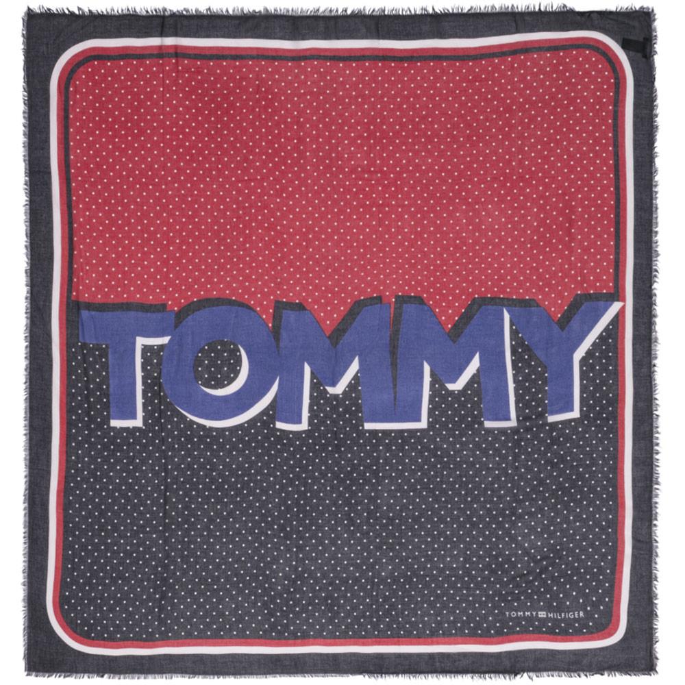 Tommy Dots Square Foulard Femme TOMMY HILFIGER BLEU pas cher