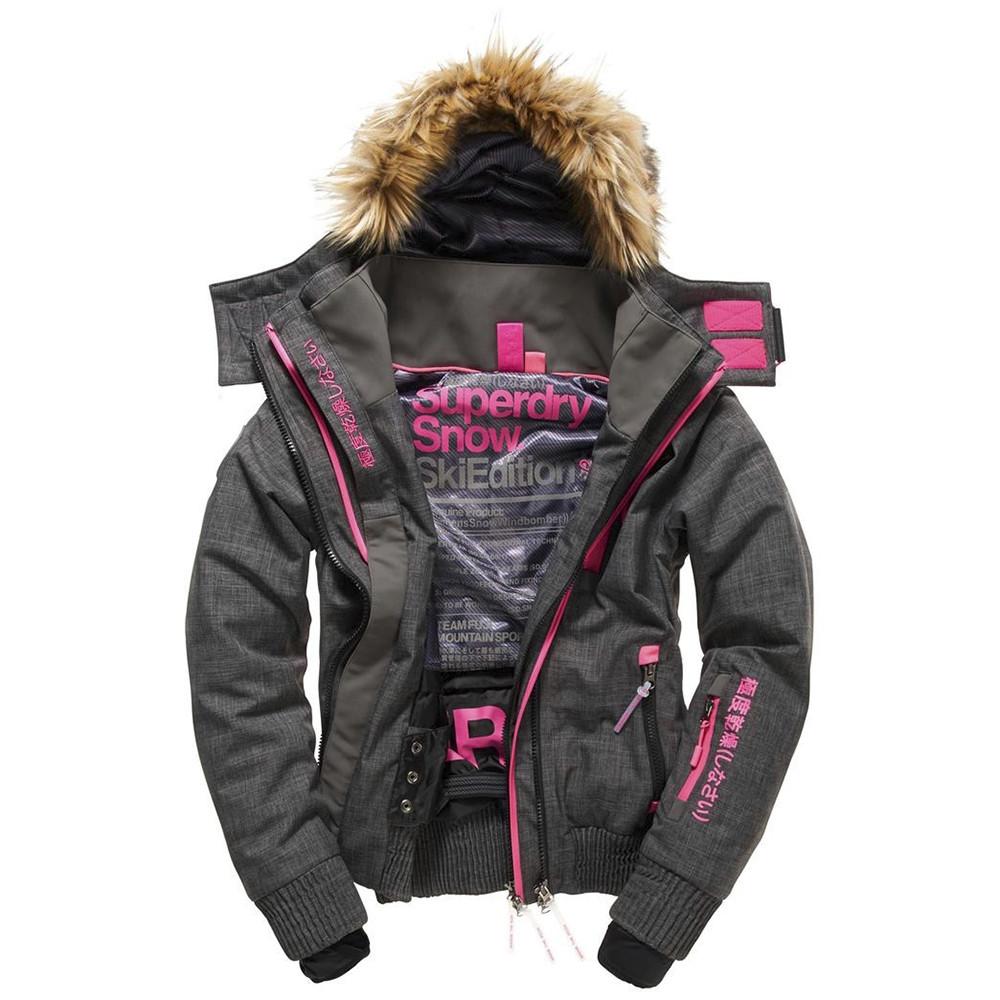 bonne qualité variété de dessins et de couleurs nombreux dans la variété Snow Wind Hooded Blouson Ski Femme SUPERDRY GRIS pas cher ...
