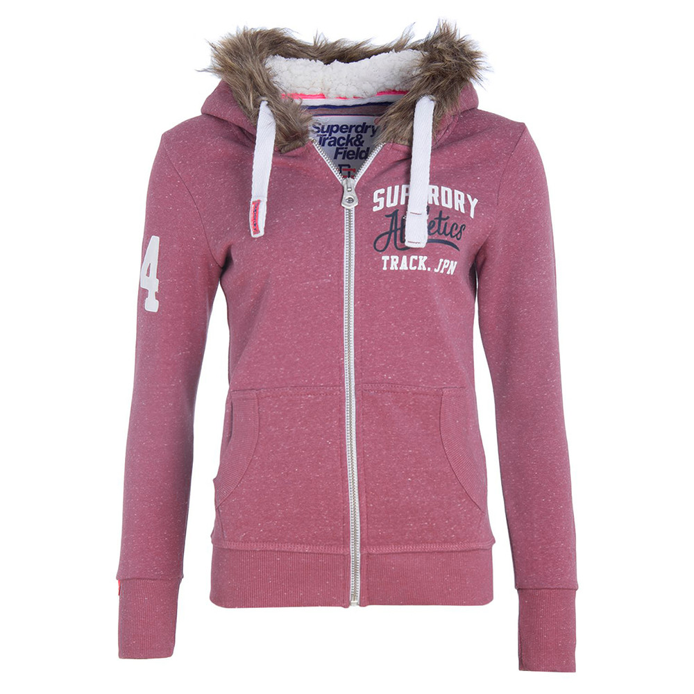 Super Track Sweat Zip Femme SUPERDRY ROSE pas cher Sweat