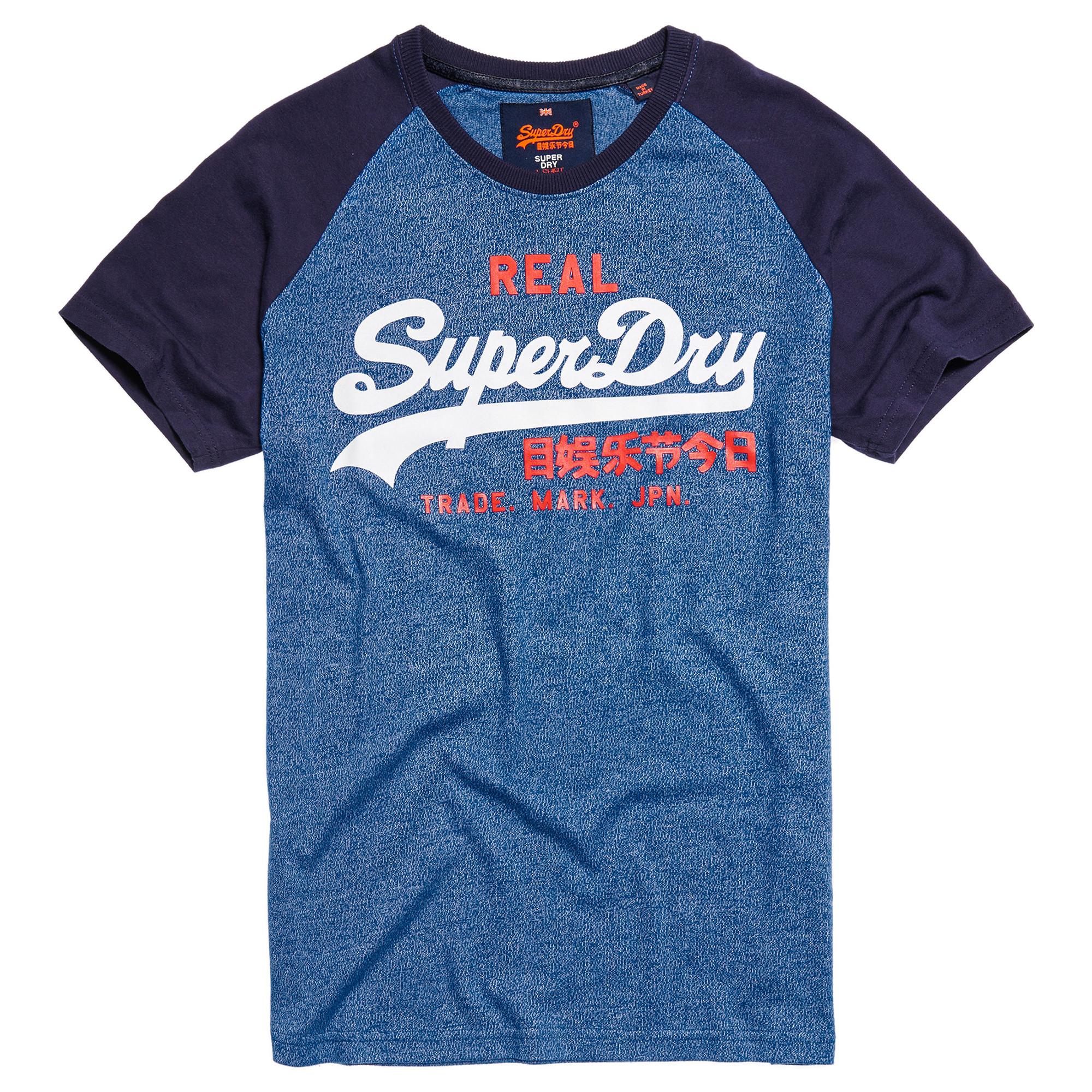 Vintage Logo Raglan T Shirt Mc Homme SUPERDRY BLEU pas cher