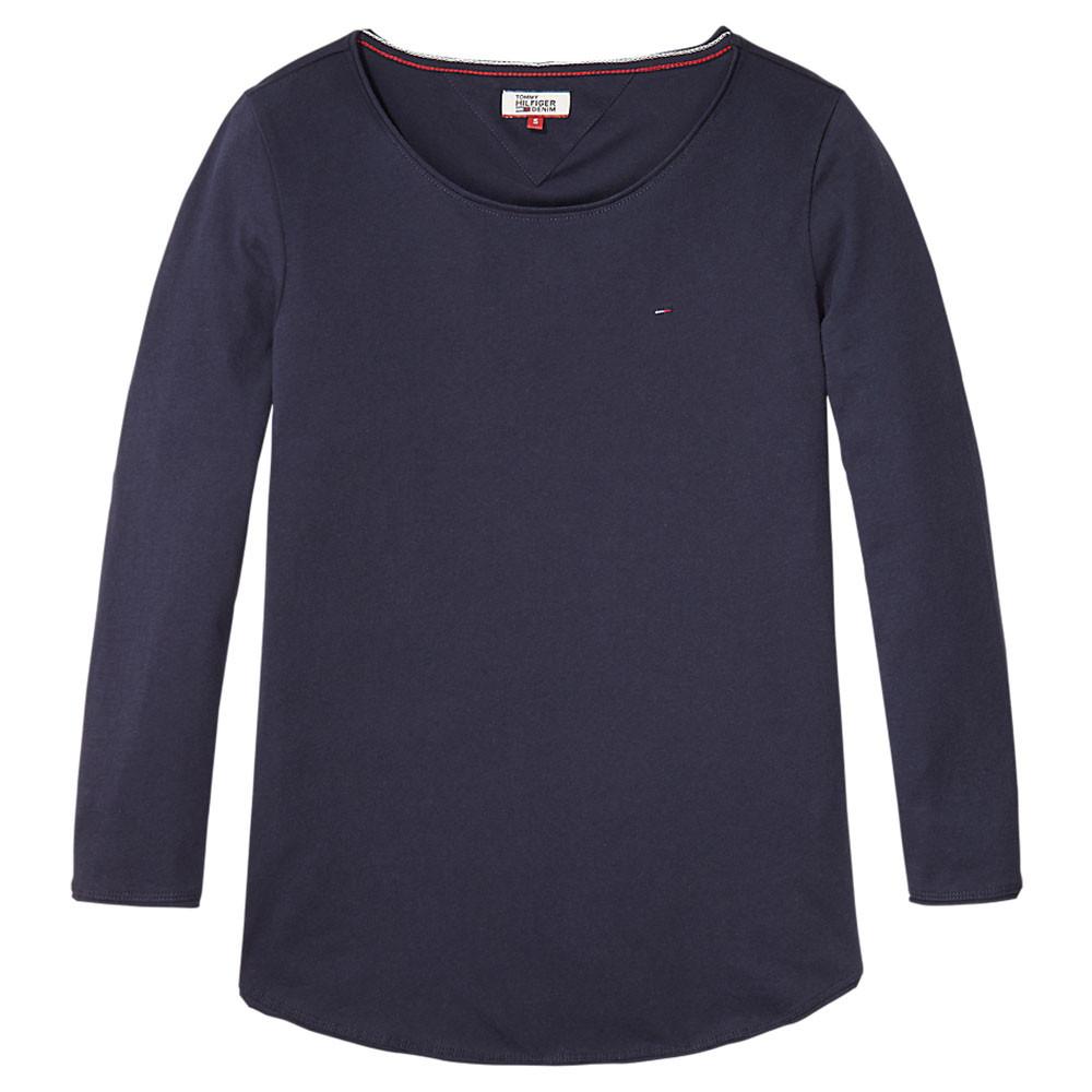 Basic Cn Knit T Shirt Ml Femme TOMMY HILFIGER BLEU pas cher