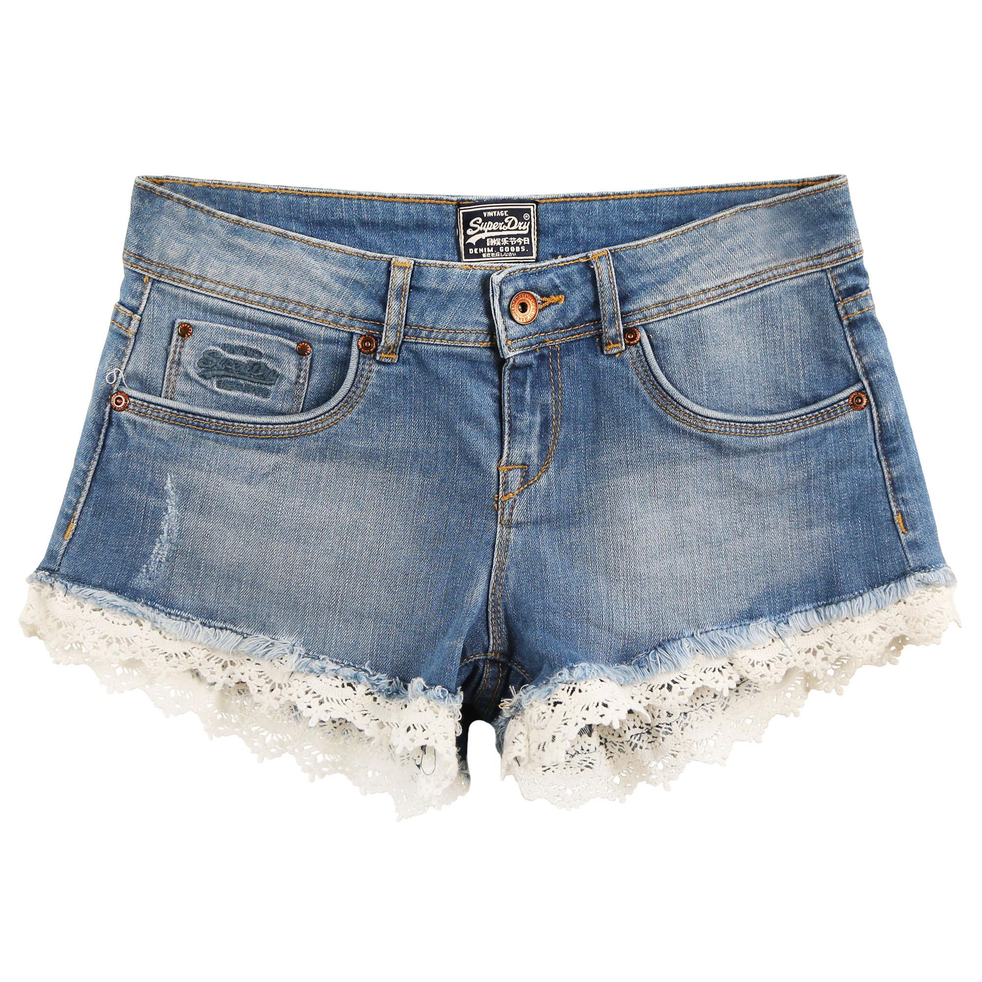 Bleu Hot Short Lace Jeans Shorts Superdry Pas Cher Femme Pz4qawU 51fabd96cdd
