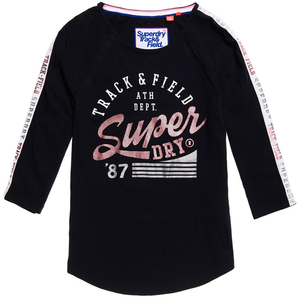 Track & Field Baseball T Shirt Ml Femme SUPERDRY NOIR pas