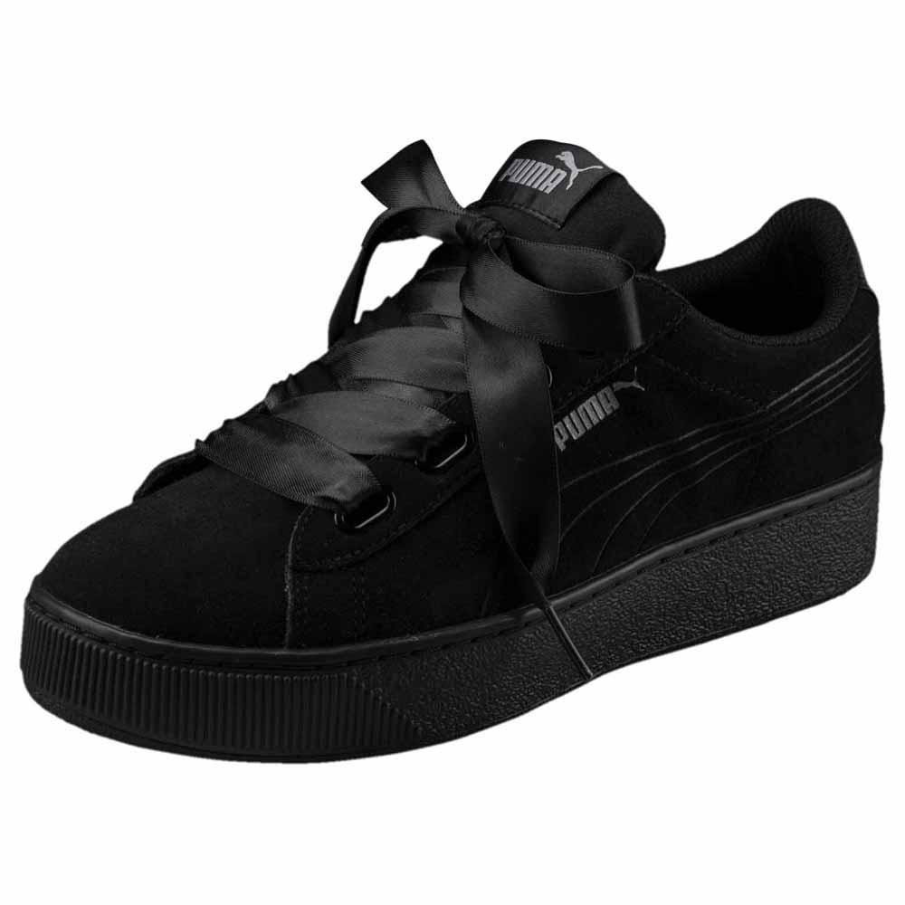 chaussures femme puma noir avec ruban