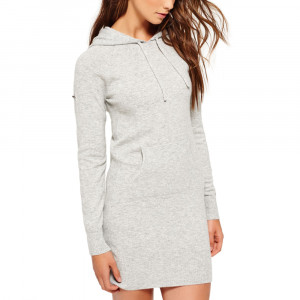 Luxe Knitted Hoody Robe Femme