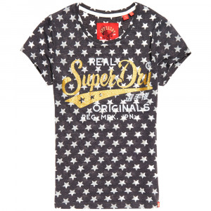 Burn Out Star Aop Entry T-Shirt Mc Femme