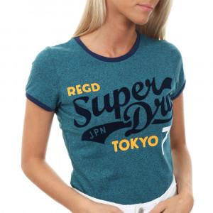 Collegiate Ringer T-Shirt Mc Femme