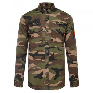 Core Military Patched Chemise Ml Homme