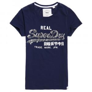 Vintage Logo Sequin T-Shirt Mc Femme